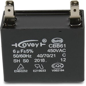 Capacitor 6µF type square plugged